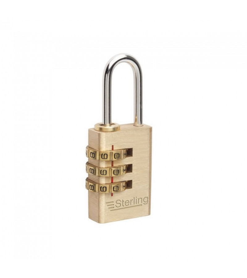 Sterling Light Security 3-Dial Combination Brass Padlock 30mm