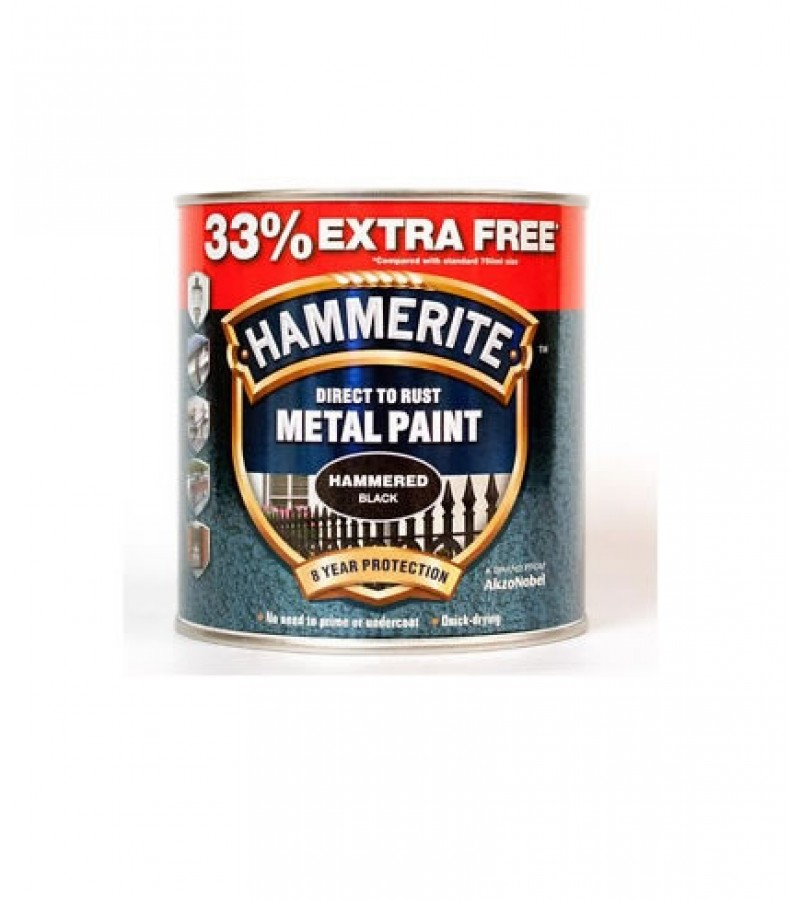 Hammerite Metal Paint 750ml Hammered Black ( +33% Extra)