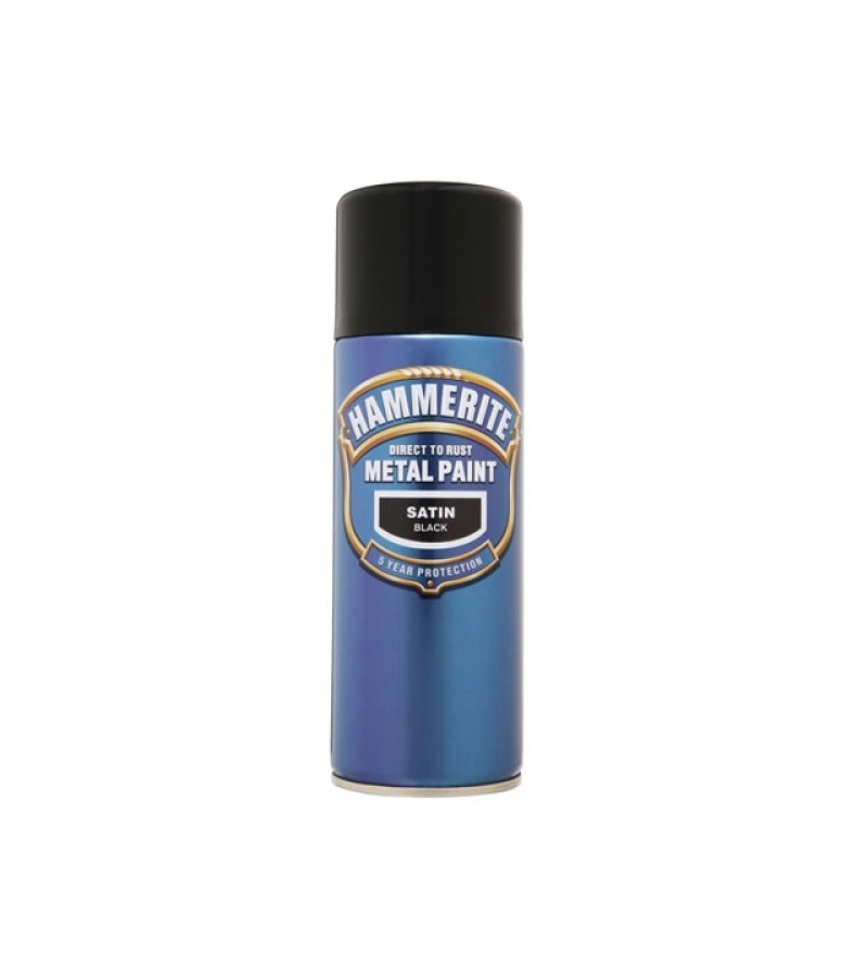 Hammerite Metal Spray Paint 400ml Black Satin