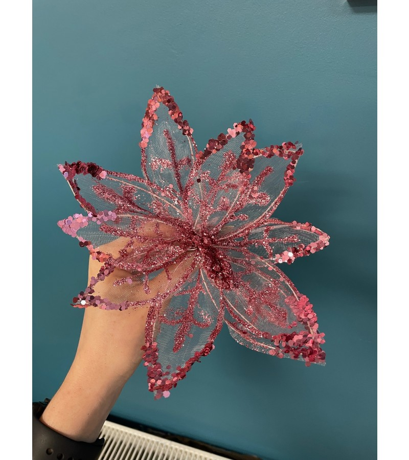 Christmas Starburst Flower 20cm Pink