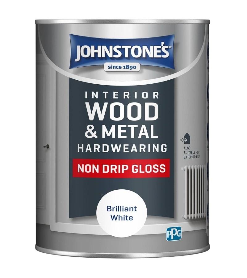 Johnstones Interior Non Drip Gloss Paint 1.25L Brilliant White