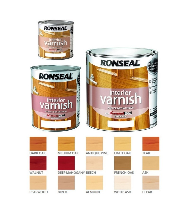 Ronseal Interior Varnish Quick Dry Matt 250ml Dark Oak