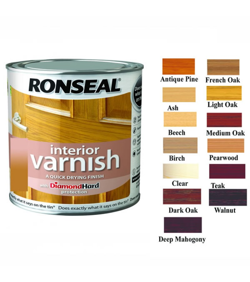Ronseal Diamond Hard Interior Floor Varnish 750ml Deep Mahogany Gloss