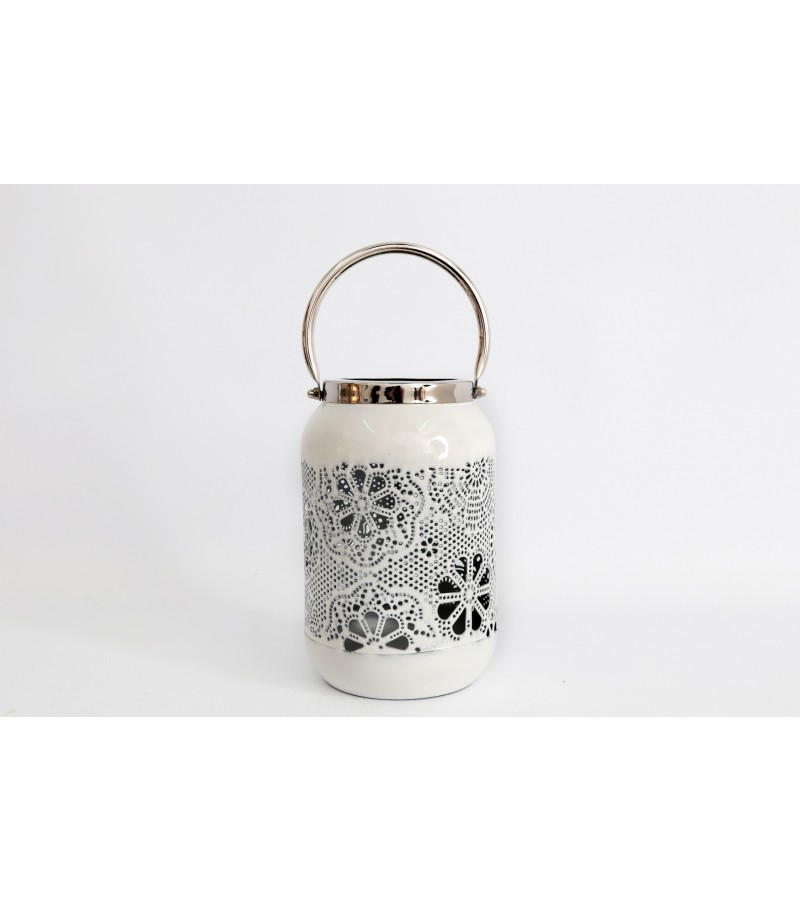 Cream Flower Design Lantern