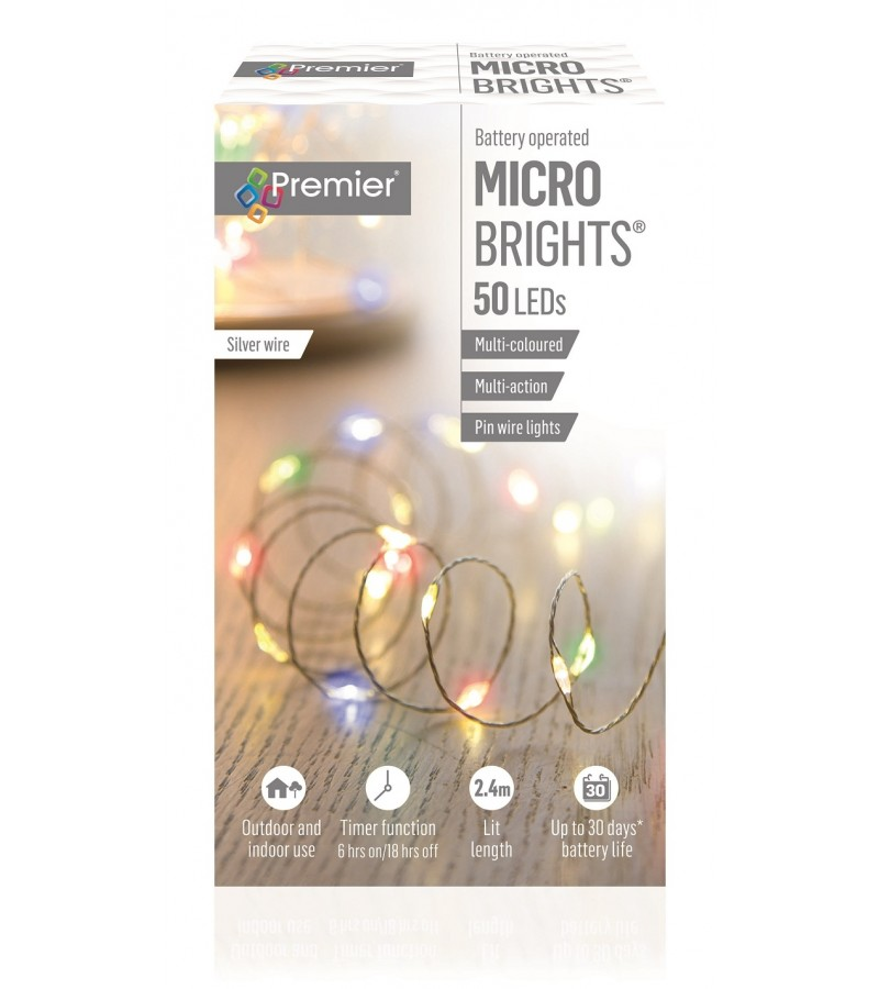 Multi Action Battery Operated Pinwire LED Timer Lights (50 Pack) Multi