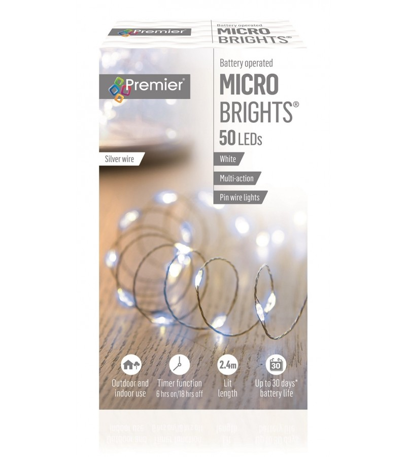 Multi Action Battery Operated Pinwire LED Timer Lights (50 Pack) White