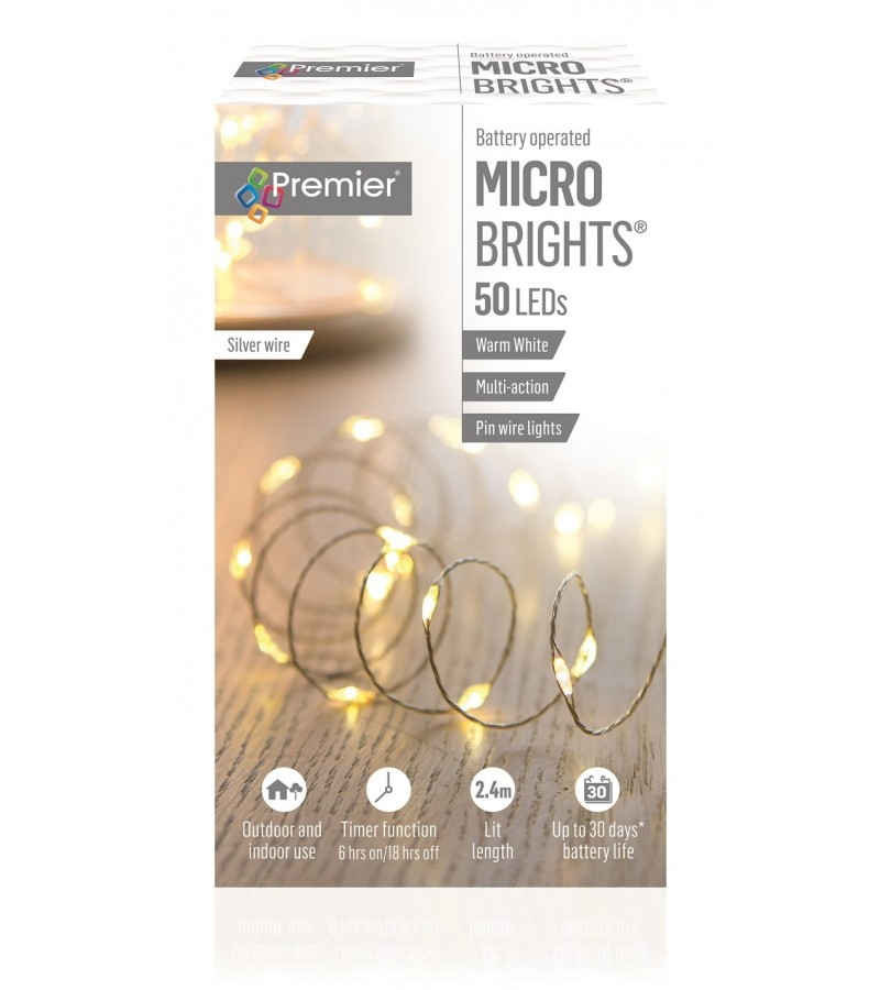 Multi Action Battery Operated Pinwire LED Timer Lights (50 Pack) Warm White