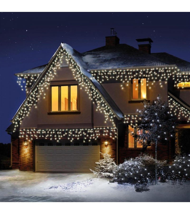 Snowing Icicle Christmas Lights 240 Pack Warm White