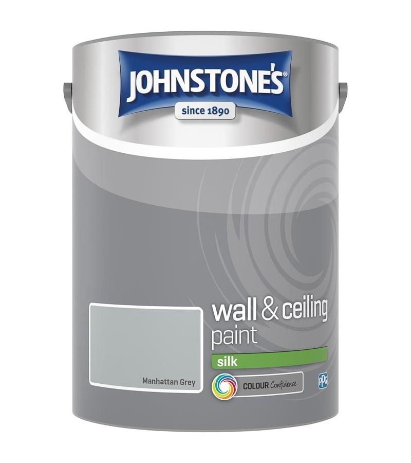 Johnstones Vinyl Emulsion Paint 5L Manhattan Grey Silk