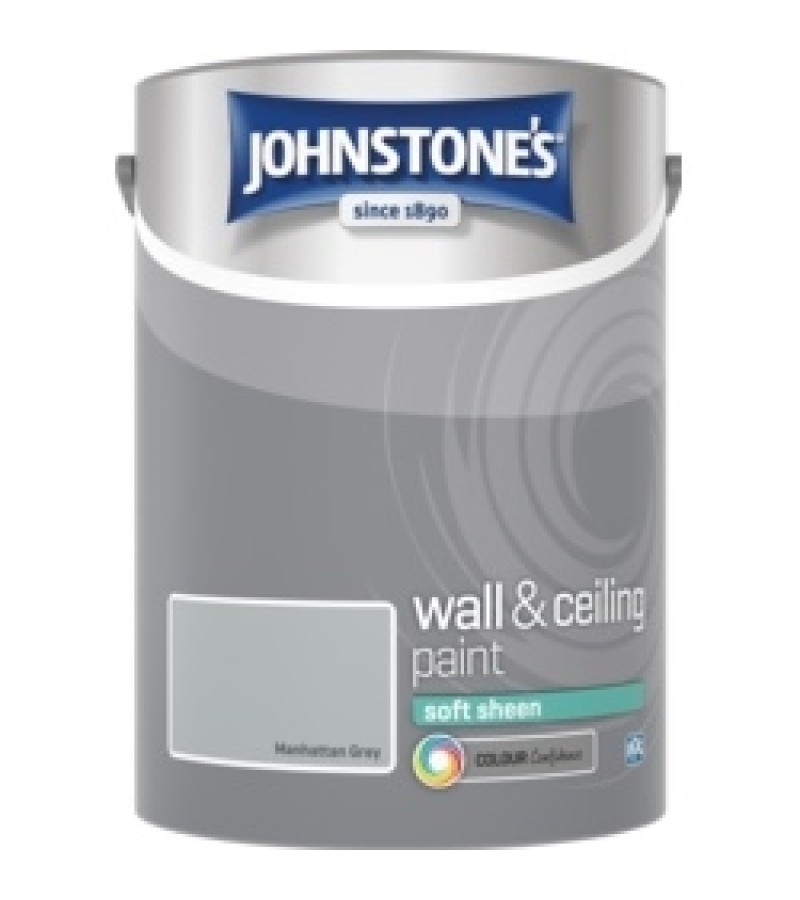 Johnstones Vinyl Emulsion Paint 5L Manhattan Grey Soft Sheen