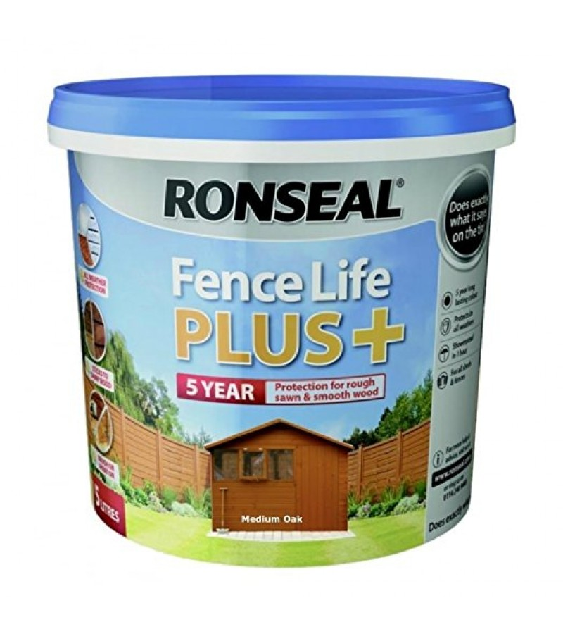 Ronseal Fence Life Plus + 5L Harvest Gold