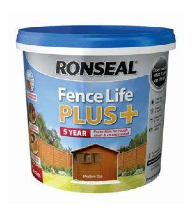 Ronseal Fence Life Plus + 5L Medium Oak