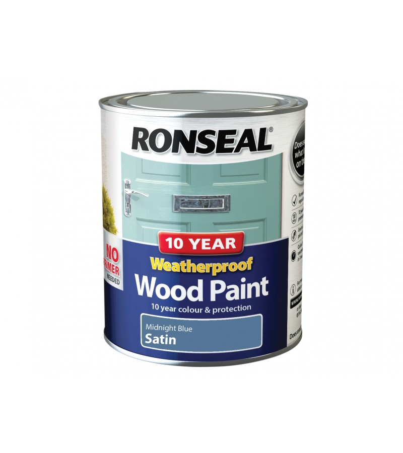 Ronseal 10 Year Weatherproof  Wood Paint Midnight Blue Satin 750ml