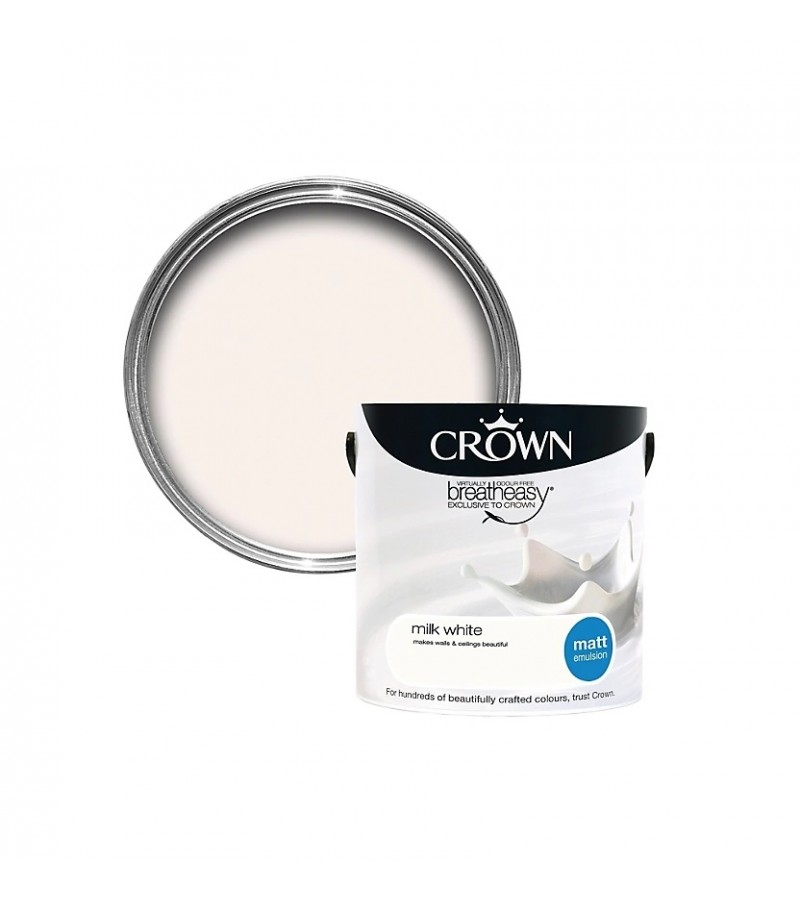 Crown Emulsion Paint 2.5L Milk White Matt
