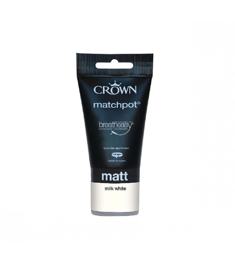 Crown Emulsion Paint Tester Pot 40ml Milk White (Matt)