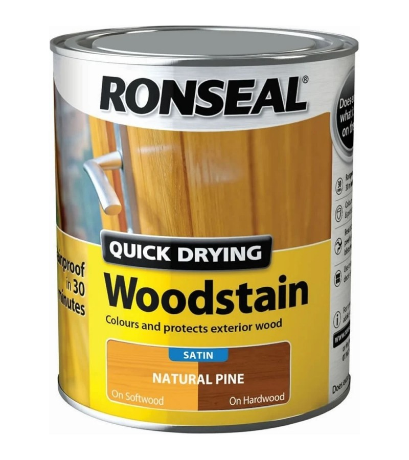 Ronseal Quick Drying Woodstain Satin 750ml Natural Pine