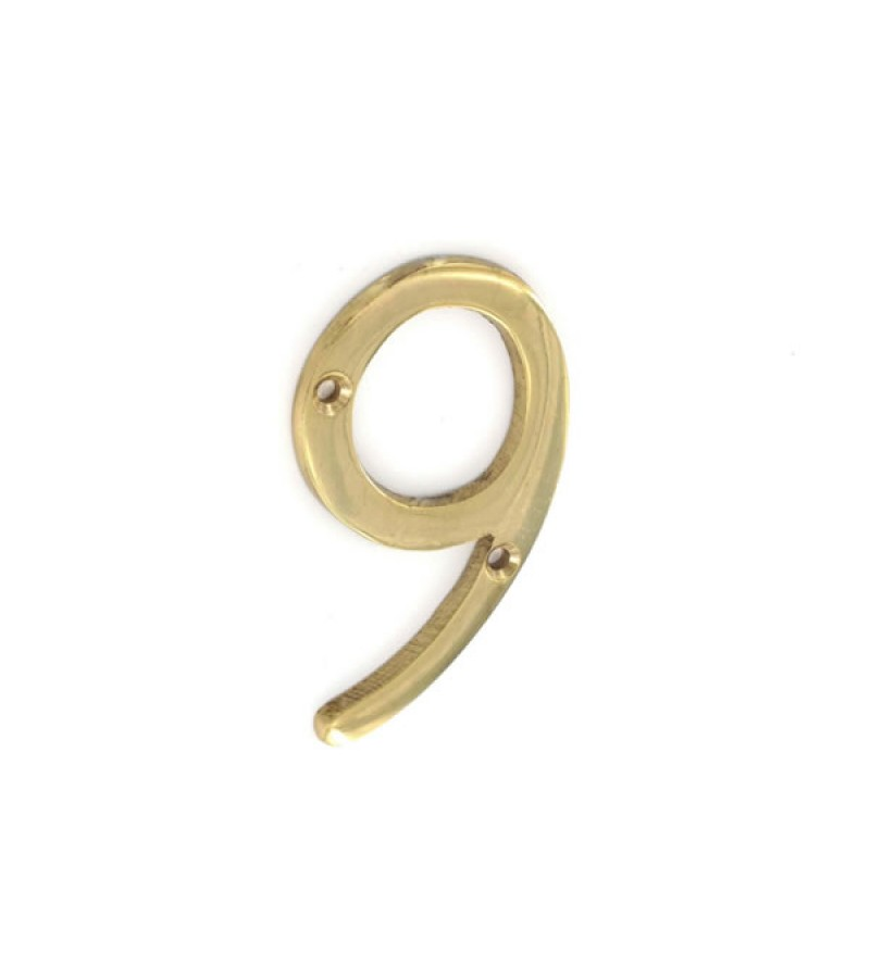 Securit S2509 75mm Numeral No.9 (Brass)