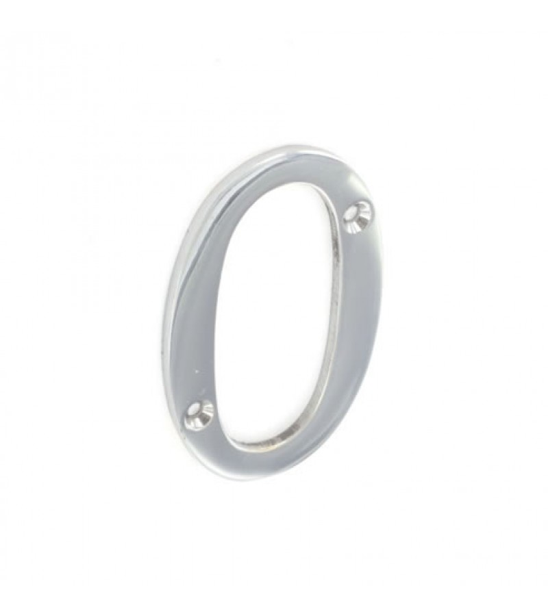 Securit S2960 Chrome Plated Numeral 0 75mm