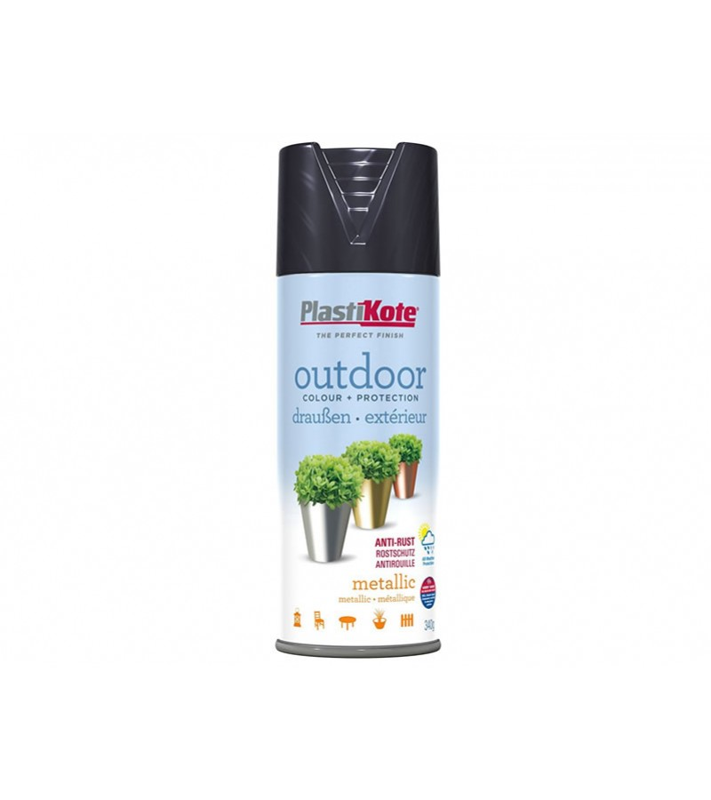 PlastiKote Outdoor Spray Paint 400ml Metallic Black