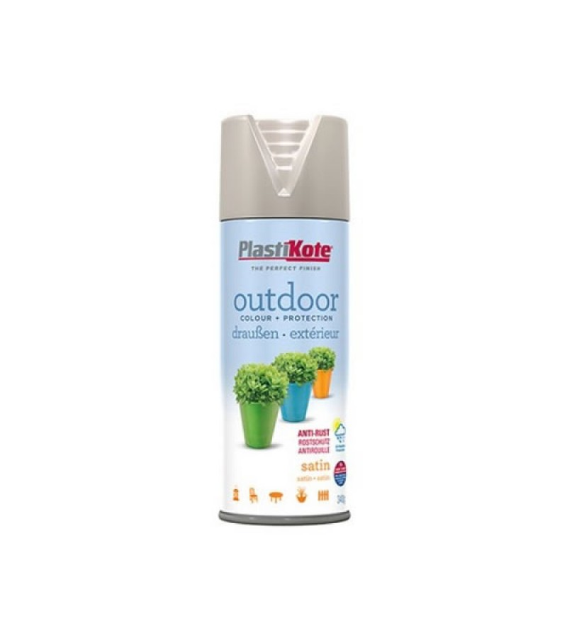 PlastiKote Outdoor Spray Paint 400ml Warm Grey Satin