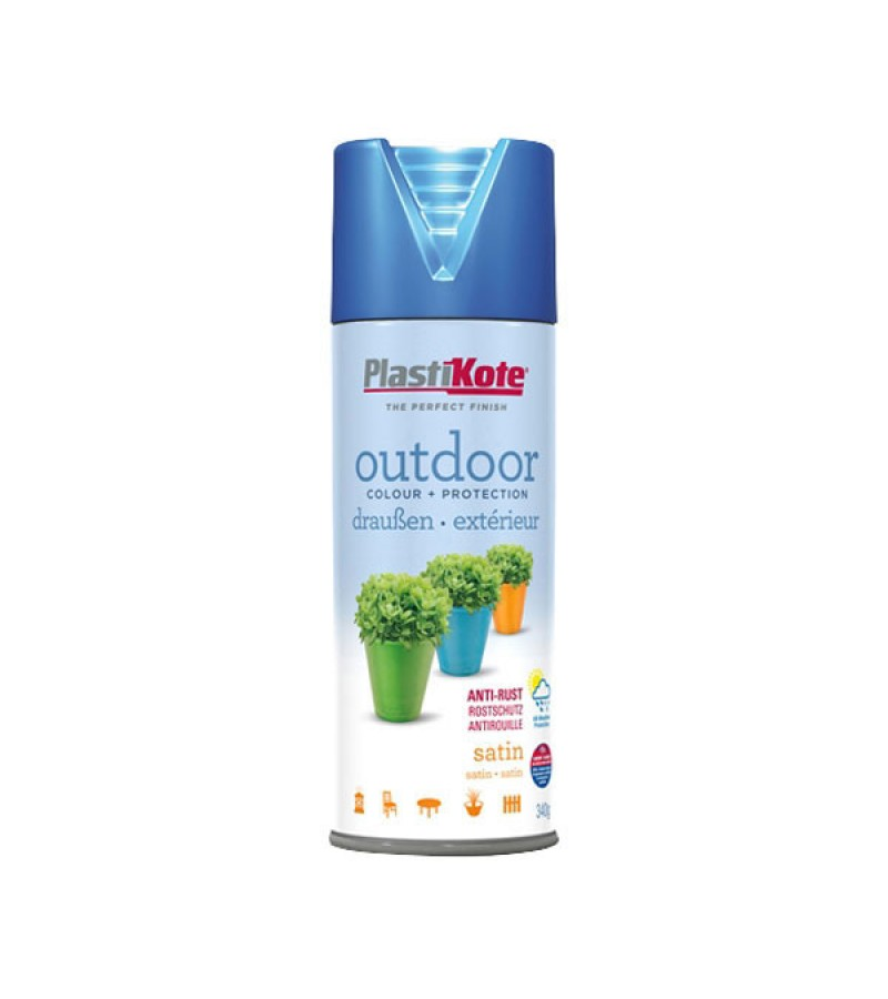 PlastiKote Outdoor Spray Paint 400ml Rustic Blue Satin