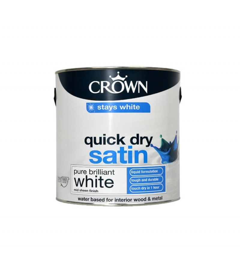 Crown Quick Dry Satin Paint 2.5L Pure Brilliant White