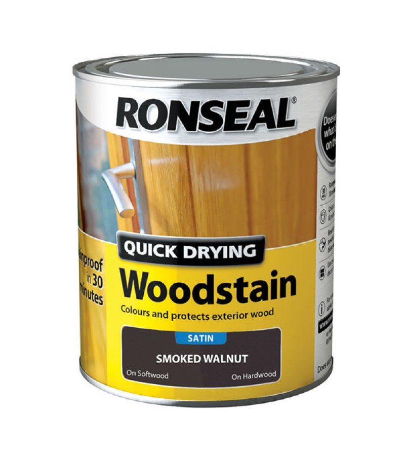Ronseal Quick Drying Wood Stain 750ml Smoked Walnut Satin