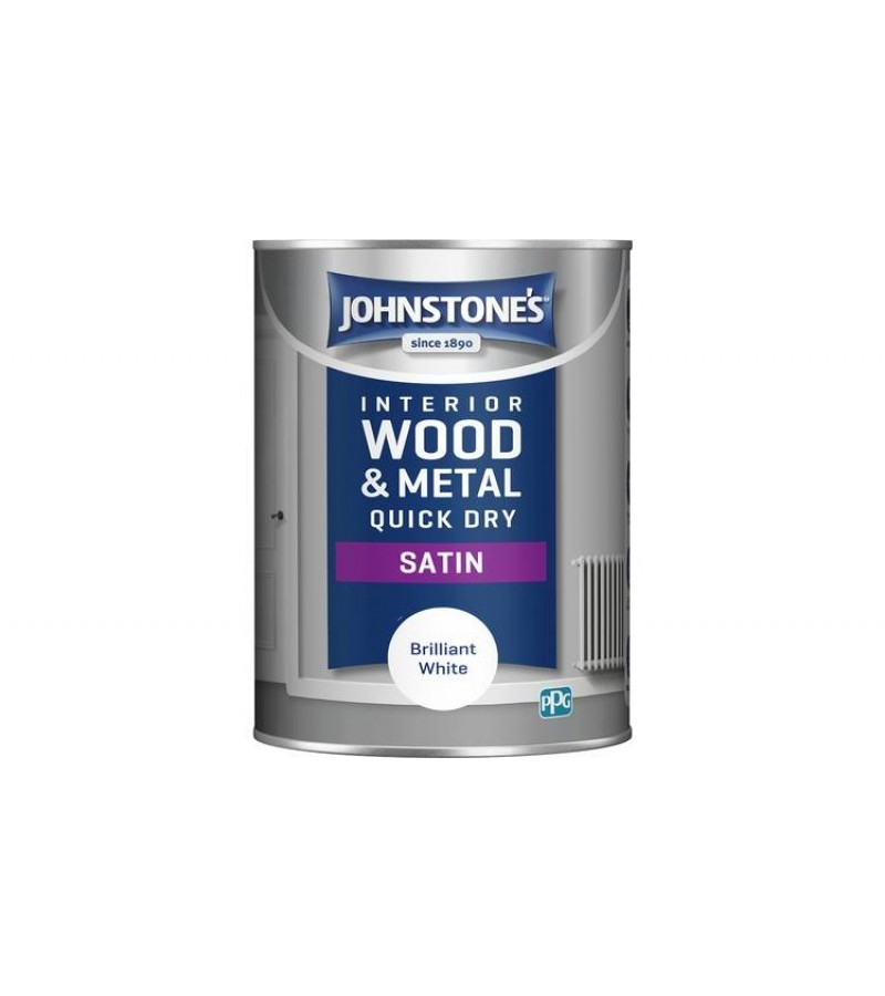 Johnstones Quick Drying Satin Paint 1.25L Brilliant White