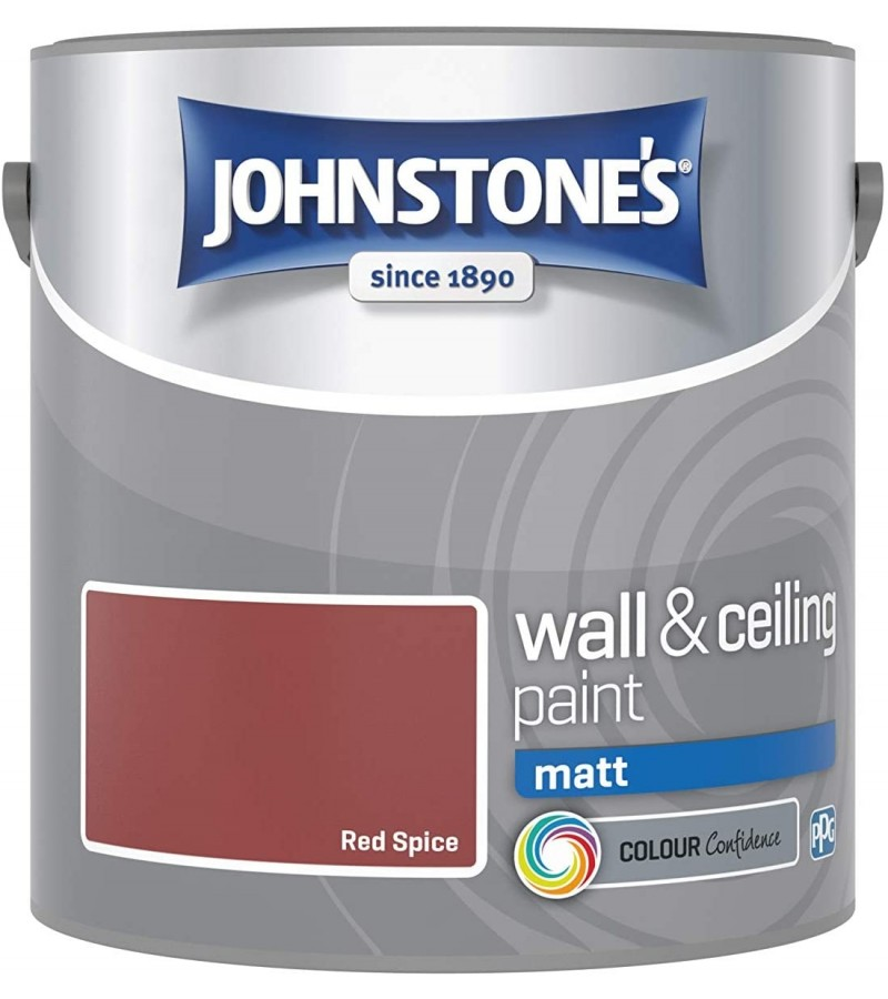 Johnstones Vinyl Emulsion Paint 2.5L Red Spice Matt