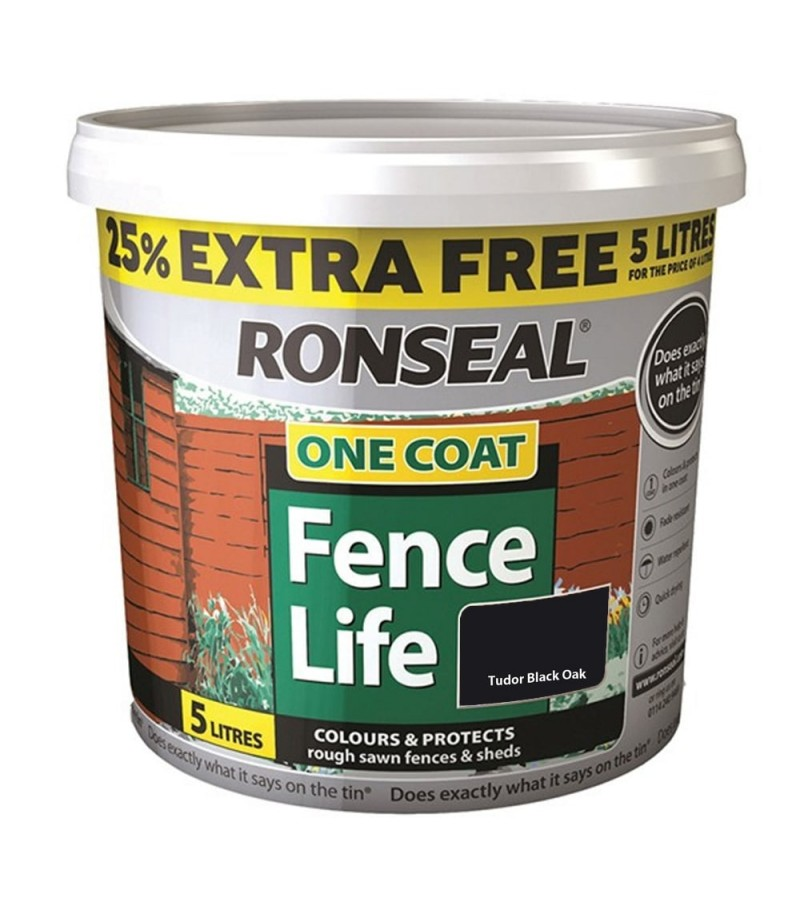Ronseal One Coat Fence Life 5L Tudor Black Oak