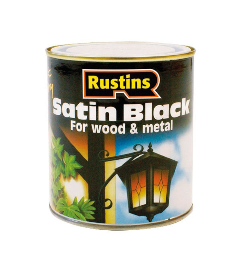 Rustins Quick Dry Wood/Metal Paint 1l Black Satin