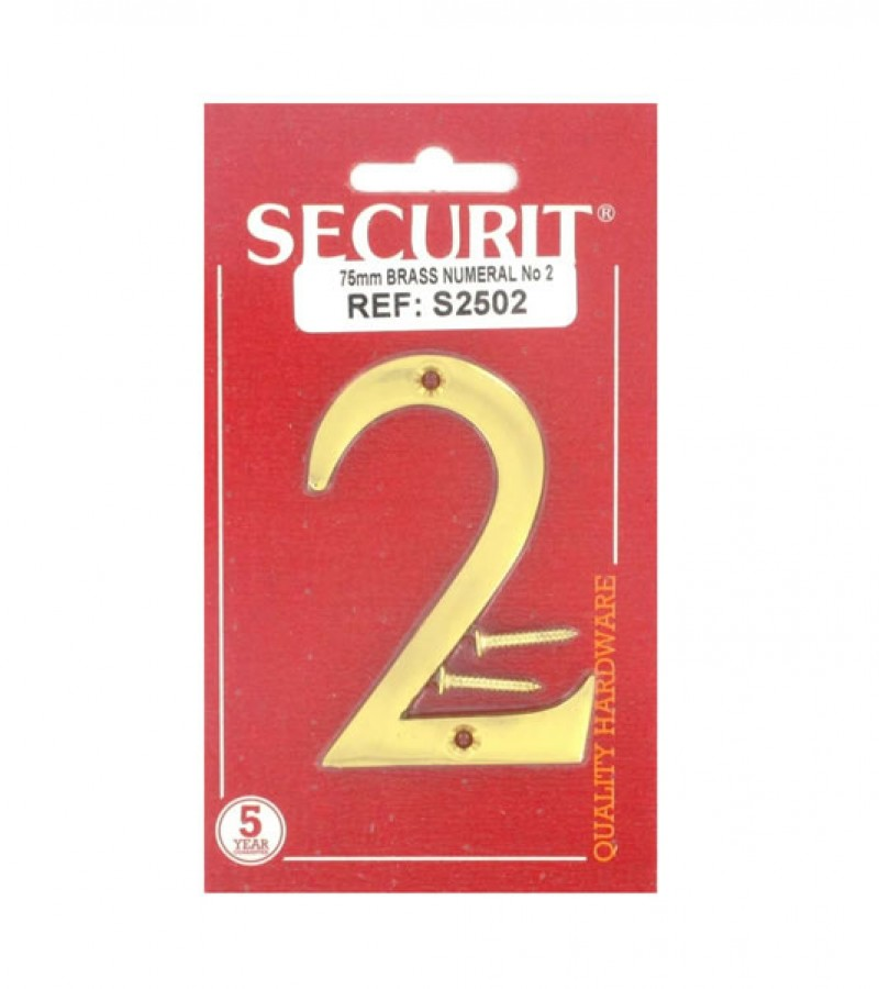 Securit S2502 75mm Numeral No.2 (Brass)