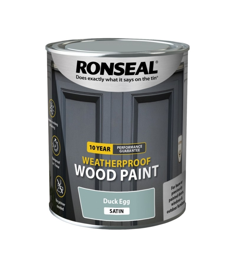Ronseal 10 Year Weatherproof  Wood Paint Duck Egg Satin 750ml