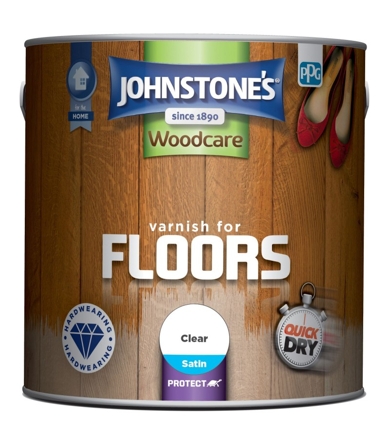 Johnstones Quick Dry Floor Varnish Clear Satin 2.5L