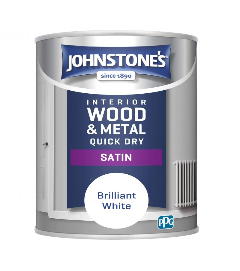 Johnstones One Coat Satin Paint 750ml Brilliant White