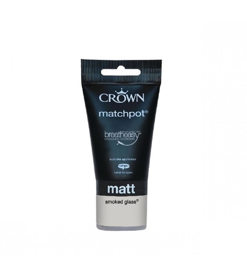 Crown Emulsion Paint Tester Pot 40ml Smoked Glass (Matt)