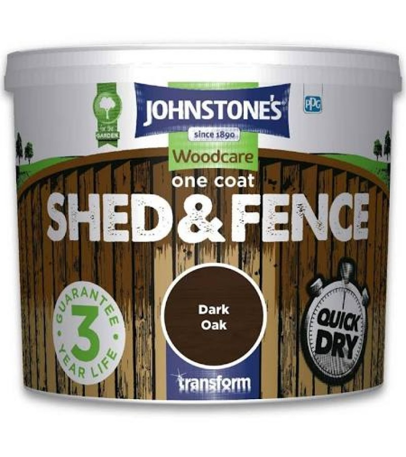 Johnstones One Coat Shed & Fence Paint 5L Dark Oak