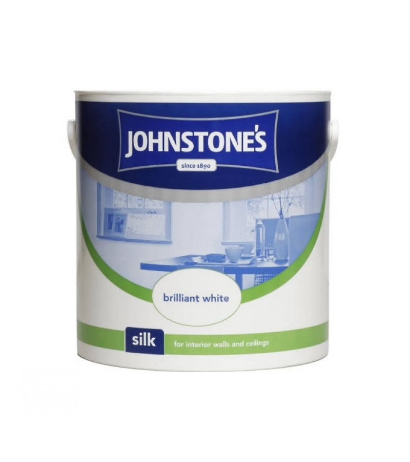 Johnstones Vinyl Emulsion Paint 2.5L Brilliant White (Silk)