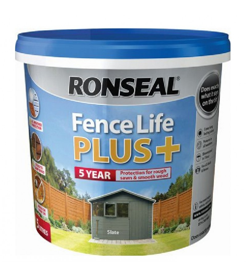 Ronseal Fence Life Plus + 5L Slate