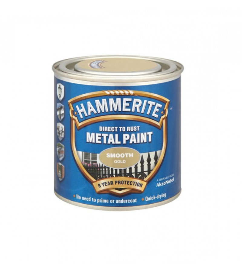 Hammerite Metal Paint 250ml Smooth Gold