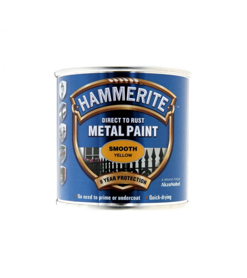 Hammerite Metal Paint 250ml Smooth Yellow