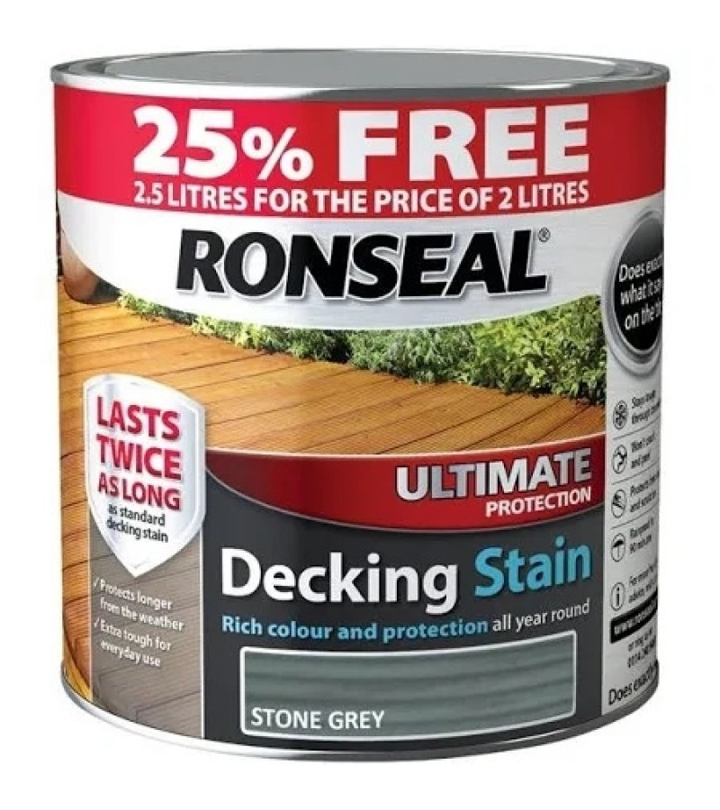 Ronseal Ultimate Protection Decking Stain 2L ( +25% Extra) Stone Grey