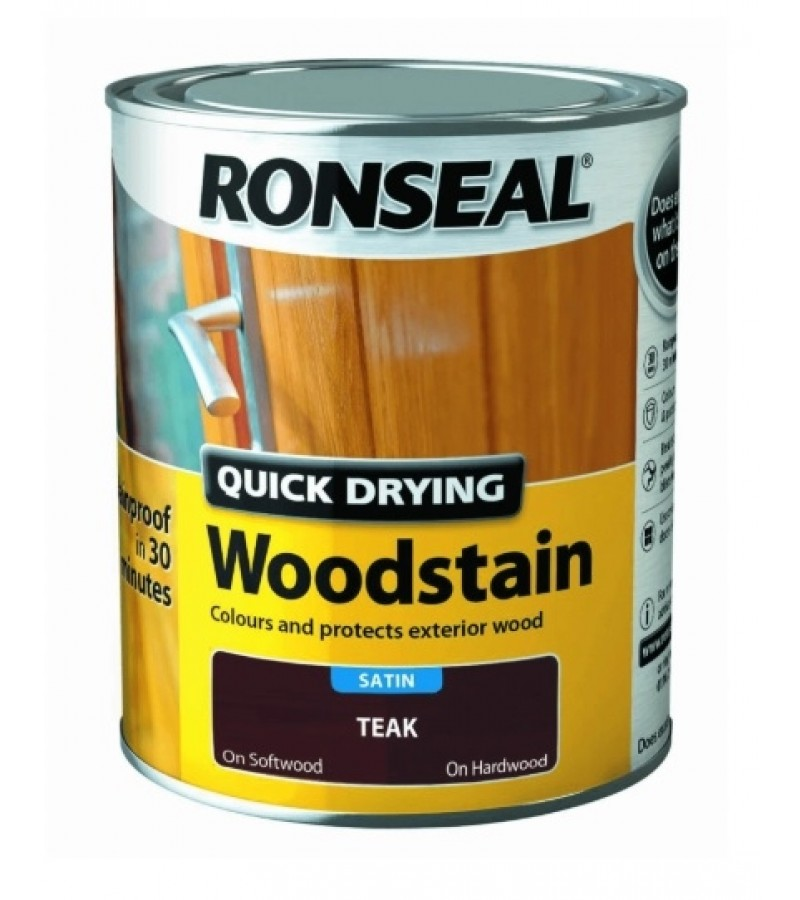 Ronseal Quick Drying Woodstain Satin 750ml Teak