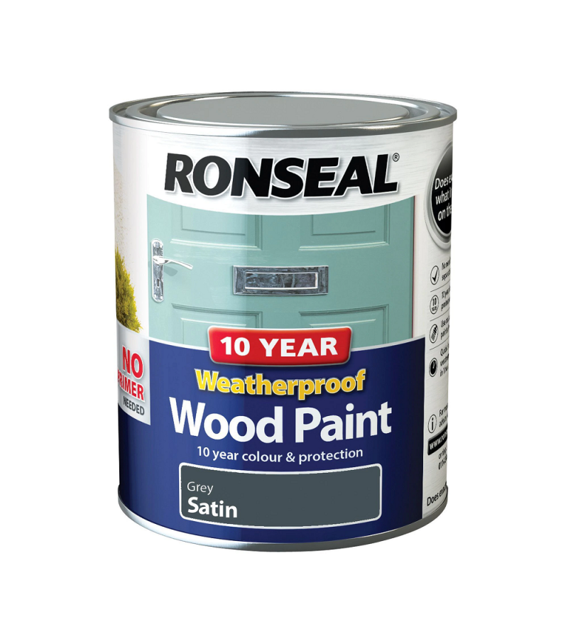 Ronseal 10 Year Weatherproof Wood Paint Grey Satin 750ml