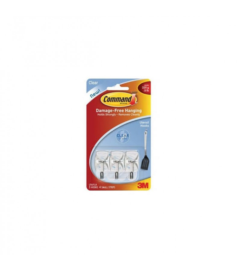 Command Utensil Hooks Small Clear (3 Pack)