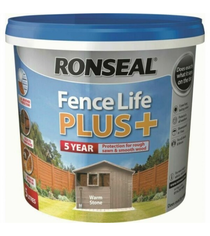 Ronseal Fence Life Plus + 5L Warm Stone