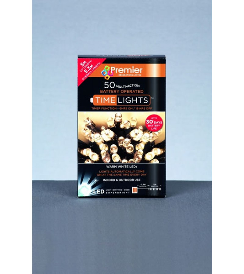 Premier Multi Action Battery Operated Warm White Led Lights With Timer 100 Lights
