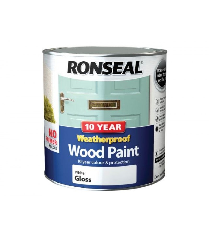 Ronseal 10 Year Weatherproof  Wood Paint Pure Brilliant White Gloss 2.5L