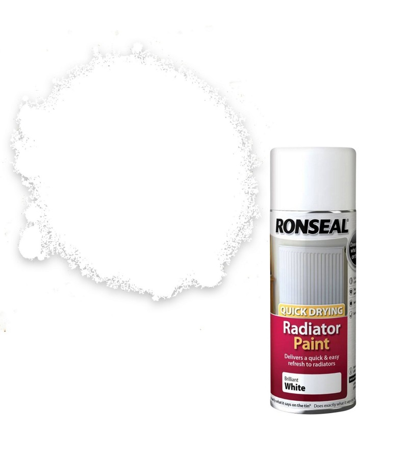 Ronseal Quick Dry Radiator Spray Paint 400ml White Gloss