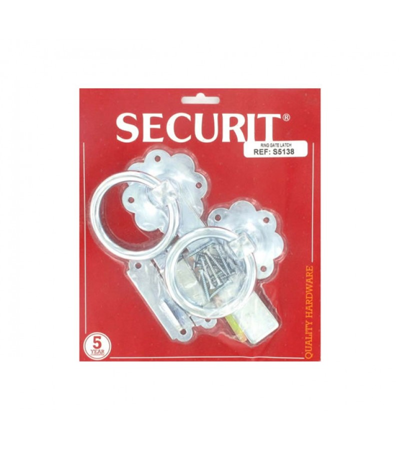 Securit S5138 150mm Ring Gate Latch (Zinc Plated)
